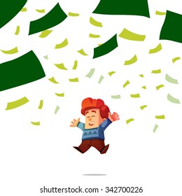 Happy guy getting a lot of money. Man throws money. Funny cartoon character.