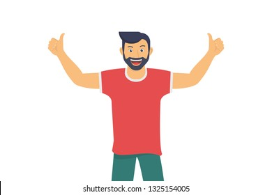 Happy guy smiling and making thumbs up with both hands. Positive mood and I like it emotions for social networks banners and events hashtag