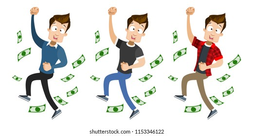 Happy guy under money fall isolated set. Young man character celebrating business success and achievement. Successful cartoon personage under rain dollar banknotes. Cash falling vector illustration