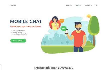 Happy guy wearing beard is sending messages via messenger app using his smartphone to young girl. Flat concept vector website template and landing page design of mobile chat and text conversations