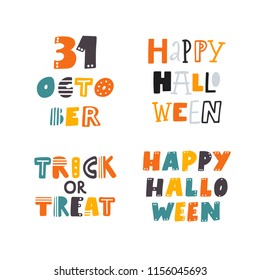 HAPPY HALLOWEEN. 31 OCTOBER. TRICK OR TREAT. AUTUMN HOLIDAY HAND LETTERING