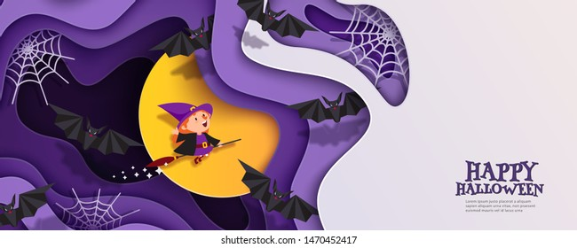 Happy Halloween 3d papercut layered design. Witch flies on broomstick. Moon, bats, spiderweb. Horizontal banner, flyer, poster with multilayered effect and place for text. Vector illustration