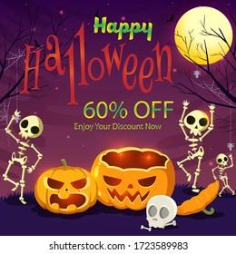 Happy Halloween 60% discount offer banner - vector illustration