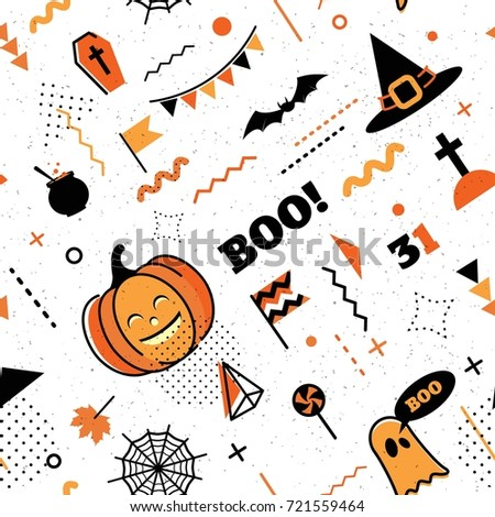 happy halloween abstract background in 80s memphis style seamless memphis pattern for posers and cards
