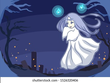 Happy halloween art cute long hair woman Asian ghost floating with blue fire Background are dark blue silhouette spooky forest and graveyard
