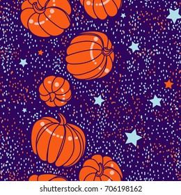 Happy Halloween. Autumn endless pattern with pumpkins. Vector hand-drawn sketch.