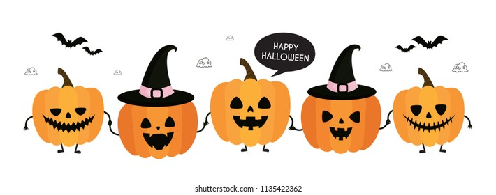 Happy Halloween. Autumn, Fall. Cute vector card with pumpkins and geometric details. Jack o lanterns