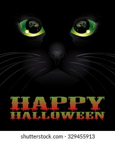 Happy Halloween background with black cat. Halloween concept. Vector illustration.