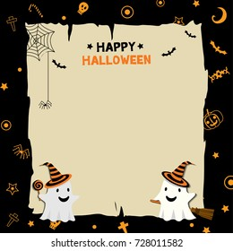 Happy Halloween background design with ghost monster put on witch hat on pattern black background.