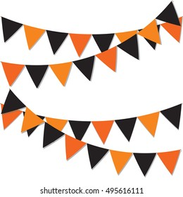 Happy halloween background. Garland of colored flags. Festive flags for decoration. Garlands of flags on a white background.Vector illustration.