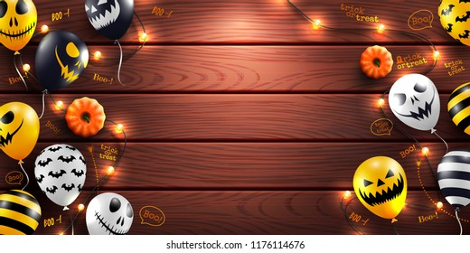 Happy Halloween background with Halloween Ghost Balloons and string light on wood background.Scary air balloons.Website spooky or banner  template.Vector illustration EPS10