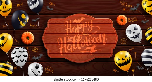 Happy Halloween background with Halloween Ghost Balloons on wood background.Scary air balloons.Website spooky or banner  template.Vector illustration EPS10