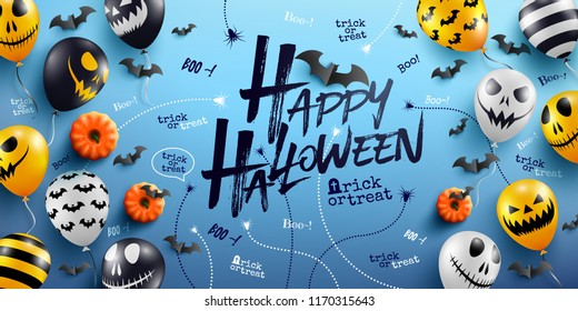 Happy Halloween Background with Halloween Ghost Balloons.Scary air balloons.Website spooky,Background or banner Halloween template.Vector illustration EPS10