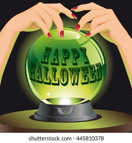 Happy Halloween background with magic sphere. Halloween concept. Vector illustration.