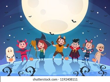 Happy halloween background. Monsters and kids in costumes. Halloween party poster or invitation vector template. Holiday monster, dracula and zombie, ghoul and ghost in moon light illustration