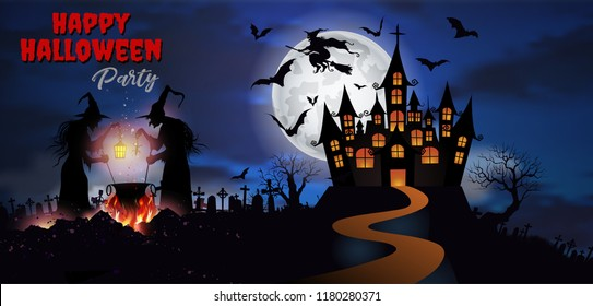 Happy Halloween background with Old witch with magical potion and the dead trees and Dracula castle under the moonlight.- Vector illustration