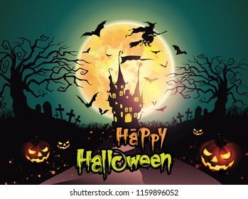 Happy Halloween background with pumpkin and dark castle under the moonlight.- Vector illustration