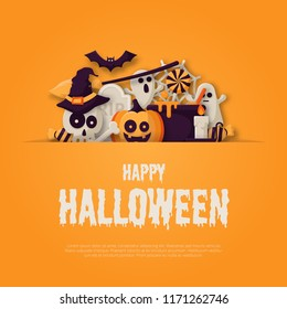 Happy Halloween Background with  pumpkins, ghosts, candy, witch broom, bats, cobwebs, skulls, bones, headstones, witch hats. Flat icon. Vector Illustration
