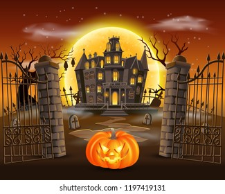 happy halloween background with scary pumpkin on graveyard with haunted house, and full moon. vector illustration for happy halloween card, flyer and poster