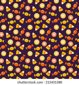 Happy Halloween! Background with sweets. Seamless pattern. Vector illustration.