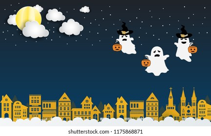 Happy Halloween background with three ghosts.