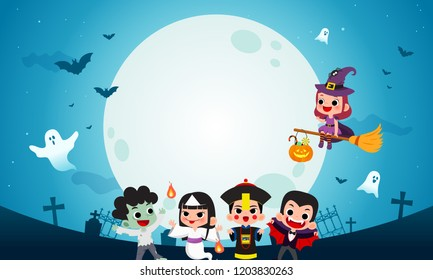 Happy Halloween background vector illustration. Kids in Halloween costume party with night background.