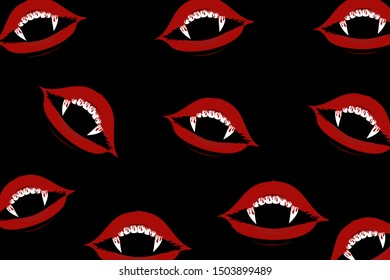 Happy Halloween background vector illustration ,wallpapers set with vampire teeth
