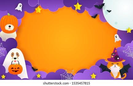 Happy Halloween Background Vector illustration. Cute pet in halloween costume