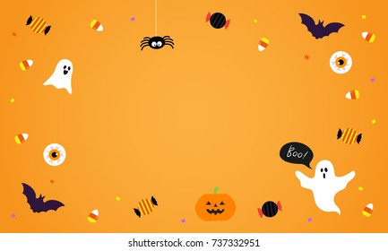Happy Halloween Background vector illustration. Spooky ghost with Halloween candy on orange background.