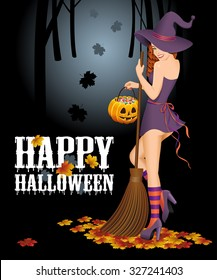 Happy Halloween background with witch with broom. Halloween concept. Vector illustration.