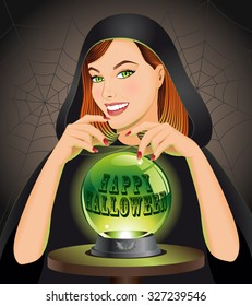 Happy Halloween background with witch with magic sphere. Halloween concept. Vector illustration.