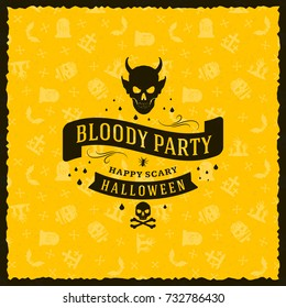Happy Halloween Badge, sticker, label with yellow background. Design element for greeting card or party flyer. Vector illustration