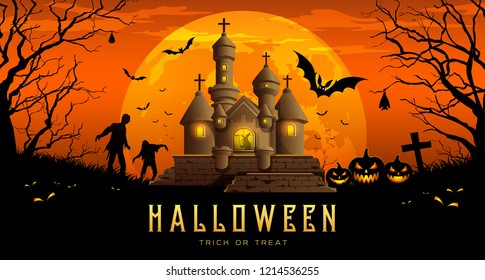 Happy Halloween banner castle and pumpkin with bat on moon night orange background, Vector illustrations