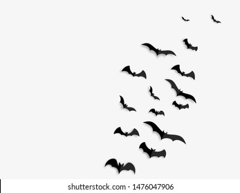 Happy Halloween banner concept. Black paper bats on white background. Vector illustration.