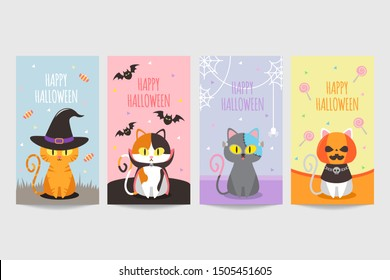 Happy halloween banner with cute cat wearing costume