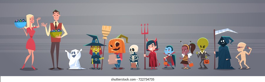 Happy Halloween Banner Holiday Decoration Horror Party Greeting Card Man And Woman Giving Candy To Cute Cartoon Monsters Flat Vector Illustration