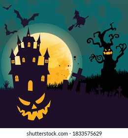 Happy Halloween banner with night clouds vector Full moon in the sky witch bat flying paste text