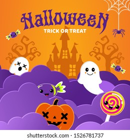 Happy Halloween banner or party invitation background with candy, ghost, spiders web and pumpkins in paper cut style. Cute cartoon spooky character.