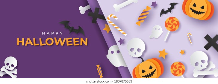 Happy Halloween banner or party invitation background with pumpkins in paper cut style. Bats, candies, ghosts, skulls and stars. Place for text. Vector illustration.