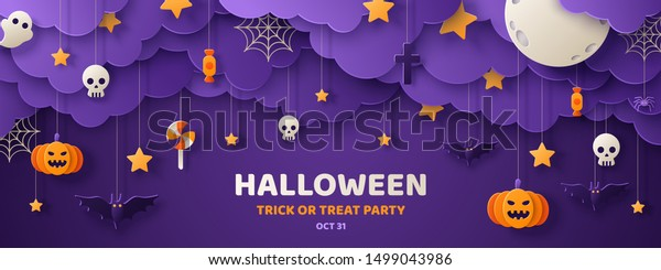 Happy Halloween banner or party invitation background with night clouds and pumpkins in paper cut style. Vector illustration. Full moon in the sky, spiders web and flying bats. Place for text