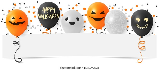 Happy Halloween banner with pumpkin balloons and confetti