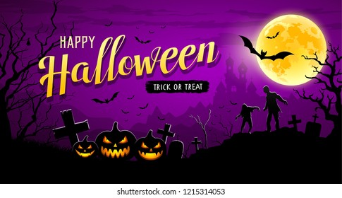 Happy Halloween banner pumpkin with bat and tree on moon night purple background, Vector illustrations