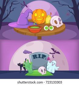 Happy halloween banners. Cartoon illustration of happy halloween banner vector set collection for any web design