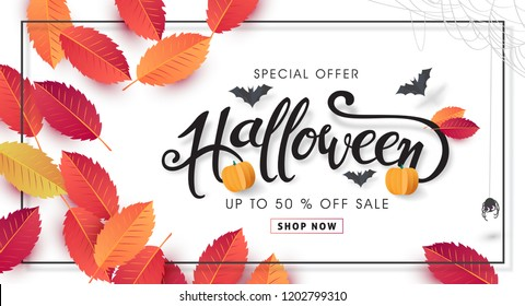 "Happy Halloween banners party invitation or sale poster background with Cobweb and autumn leaf .Vector illustration .Calligraphy of ""halloween""."