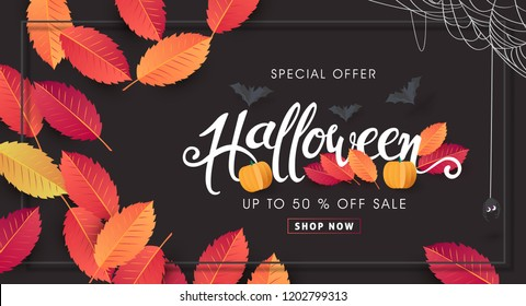"""Happy Halloween banners party invitation or sale poster background with Cobweb and autumn leaf .Vector illustration .Calligraphy of """"halloween""""."""