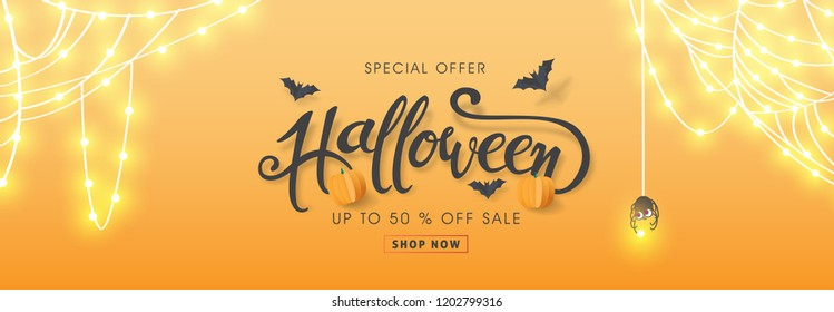 "Happy Halloween banners party invitation or sale poster background with Cobweb glowing lights .Vector illustration .Calligraphy of ""halloween""."