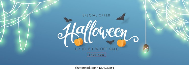 Happy Halloween banners party invitation or sale poster background with Cobweb glowing lights .Vector illustration .