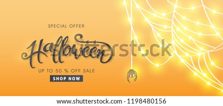 "Happy Halloween banners party invitation or sale poster background with Cobweb glowing lights .Vector illustration .calligraphy of ""halloween"""