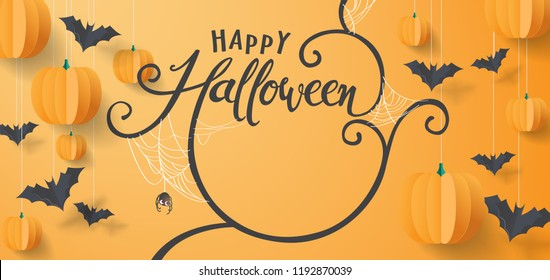 "Happy Halloween banners party invitation.Vector illustration .calligraphy of ""halloween""."