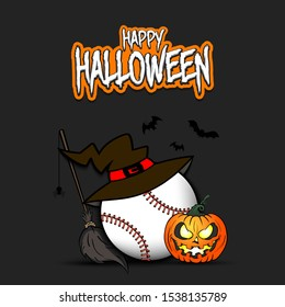 Happy Halloween. Baseball template design. Baseball ball with witch hat, pumpkin, broom, spider and bat. Design pattern for banner, poster, greeting card, flyer, party invitation. Vector illustration